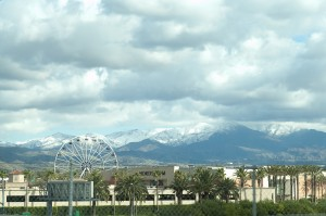 Snow in CA with Spectrum center in foreground